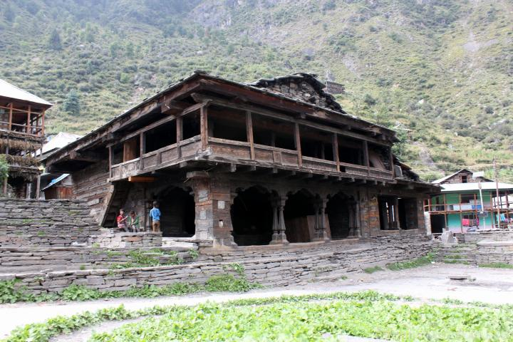 Old wooden and burnt temple in Malana